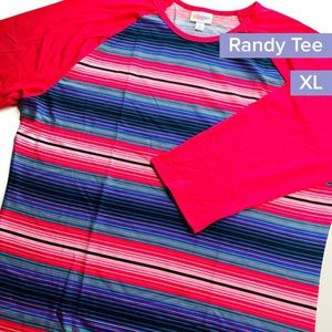 Lularoe XL hot pink striped Randy tee shirt